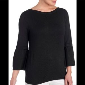 NWT! Joseph A. Black Solid Bell Sleeve Knit Top S